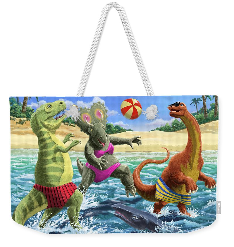 Dinosaur Weekender Tote Bag featuring the digital art dinosaur fun playing Volleyball on a beach vacation by Martin Davey