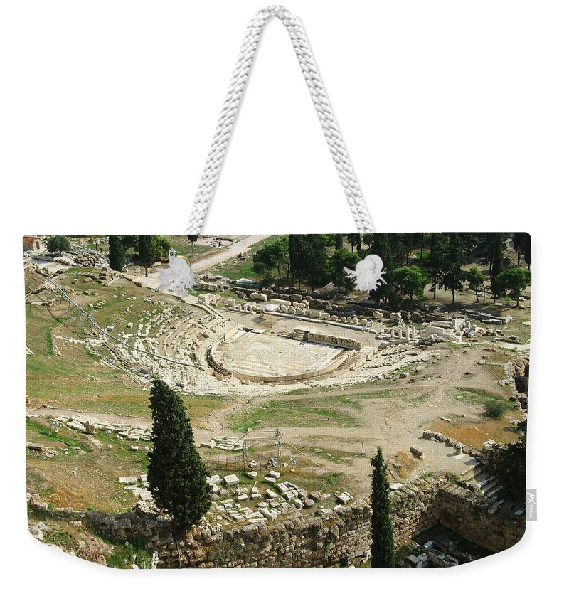 Dionysus Theater Weekender Tote Bag featuring the photograph Dionysus Amphitheater by Ellen Henneke