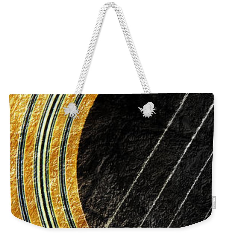 Guitar Weekender Tote Bag featuring the photograph Diptych Wall Art - Macro - Gold Section 1 Of 2 - Vikings Colors - Music - Abstract by Andee Design