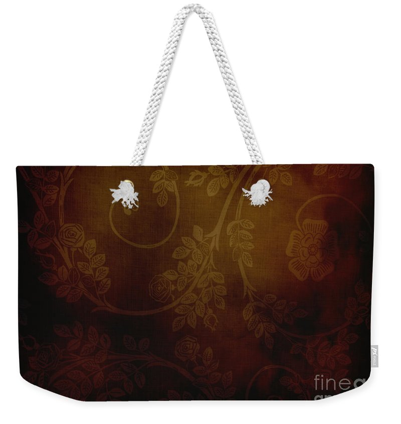 Red Weekender Tote Bag featuring the photograph Dirty Flowers Backdrop by Sophie McAulay