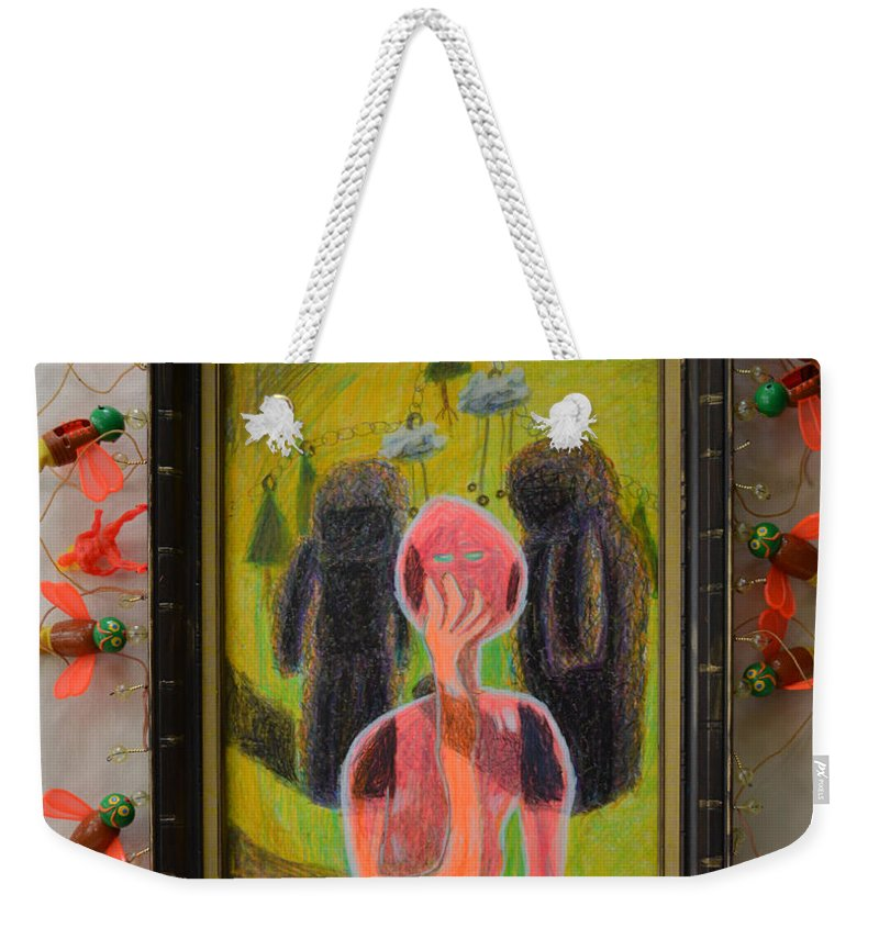 Abstract Modern Outsider Raw Figures People Red Green Stone Bugs Beads Folk Person Yellow Pink Brown Black White Shadow Person Shadows Weekender Tote Bag featuring the painting Disappearance Of The Woman And Her Own Two Stone Children With Clouds On Wheels - Framed by Nancy Mauerman