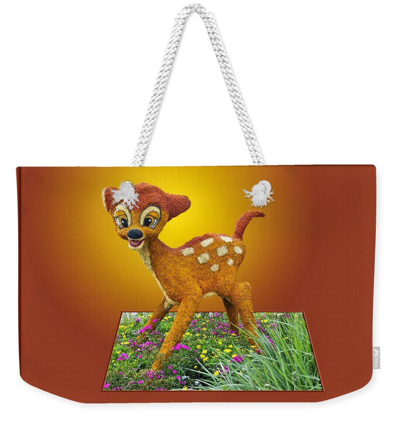 Bambi Weekender Tote Bag featuring the photograph Disney Floral 03 Bambi by Thomas Woolworth