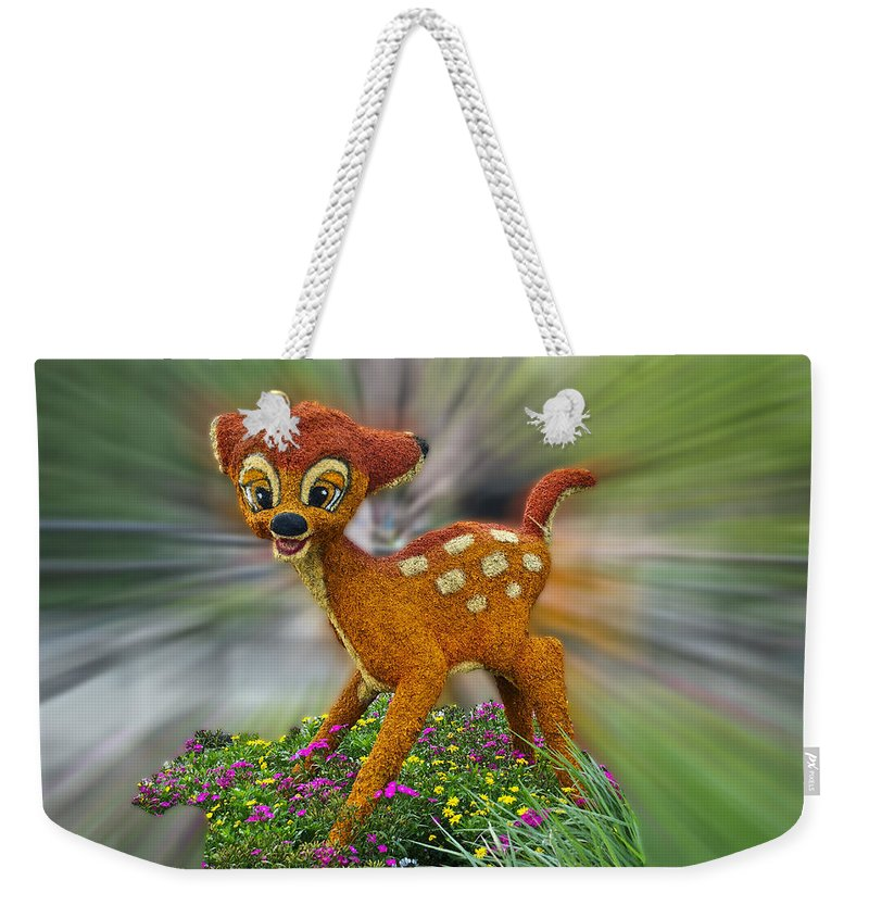 Fantasy Weekender Tote Bag featuring the photograph Disney Floral Bambi by Thomas Woolworth