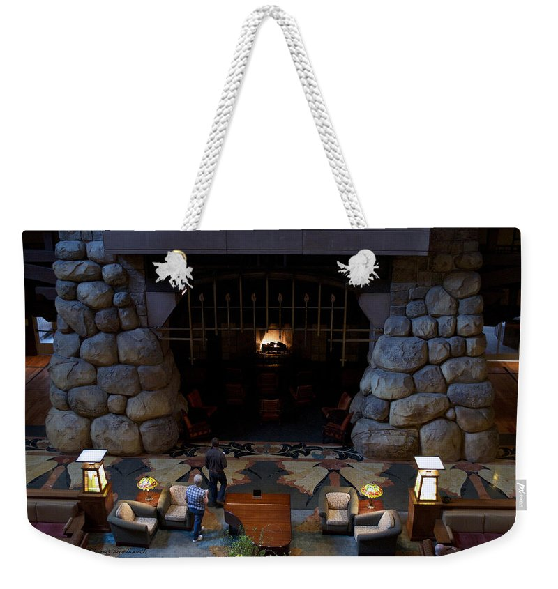 Fireplace Weekender Tote Bag featuring the photograph Disneyland Grand Californian Hotel Fireplace 02 by Thomas Woolworth