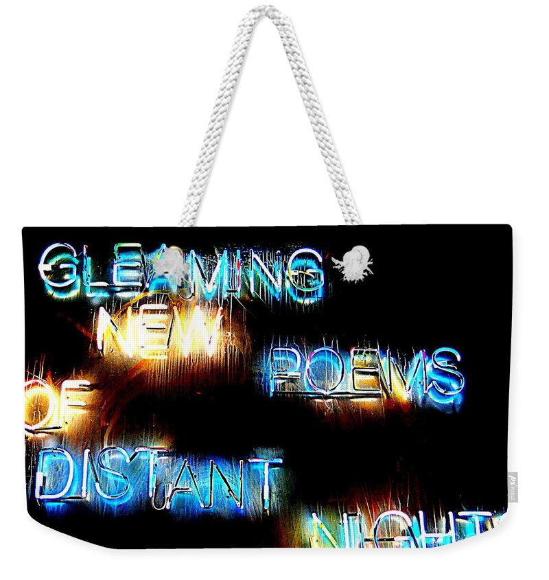 Signs Weekender Tote Bag featuring the photograph Distant Nights by Ed Weidman