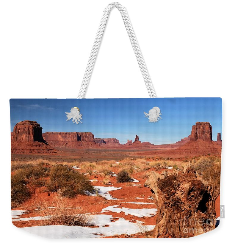 Monument Valley Weekender Tote Bag featuring the photograph Distant Towers by Adam Jewell