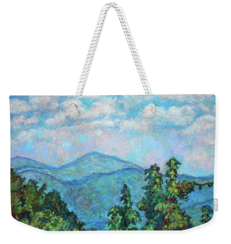 Kendall Kessler Weekender Tote Bag featuring the painting Distant View Of Peaks Of Otter by Kendall Kessler