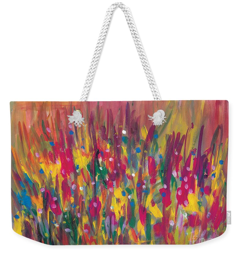 Contemporary Weekender Tote Bag featuring the painting Distortion by Bjorn Sjogren