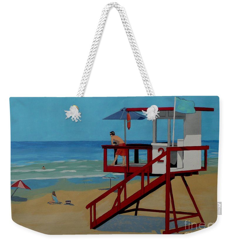 Lifeguard Weekender Tote Bag featuring the painting Distracted Lifeguard by Anthony Dunphy