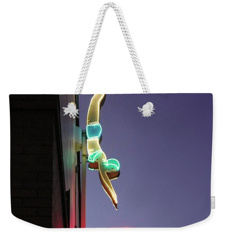 Neon Weekender Tote Bag featuring the photograph Dive In Retro Neon by Kathleen Grace