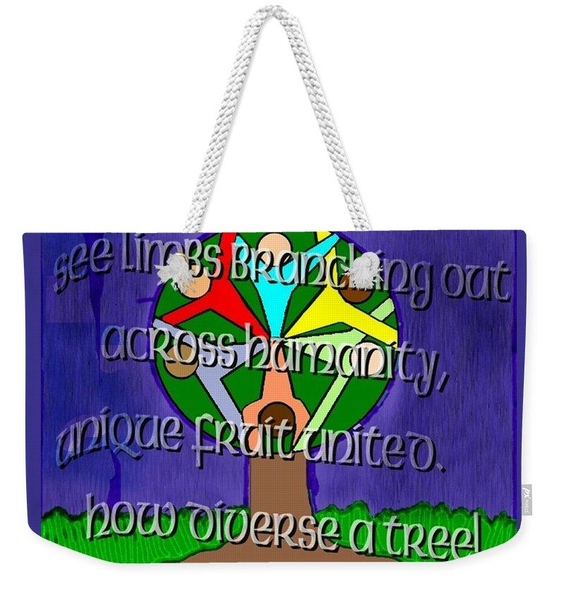 Diversity Weekender Tote Bag featuring the painting Diversity Tree by Pharris Art