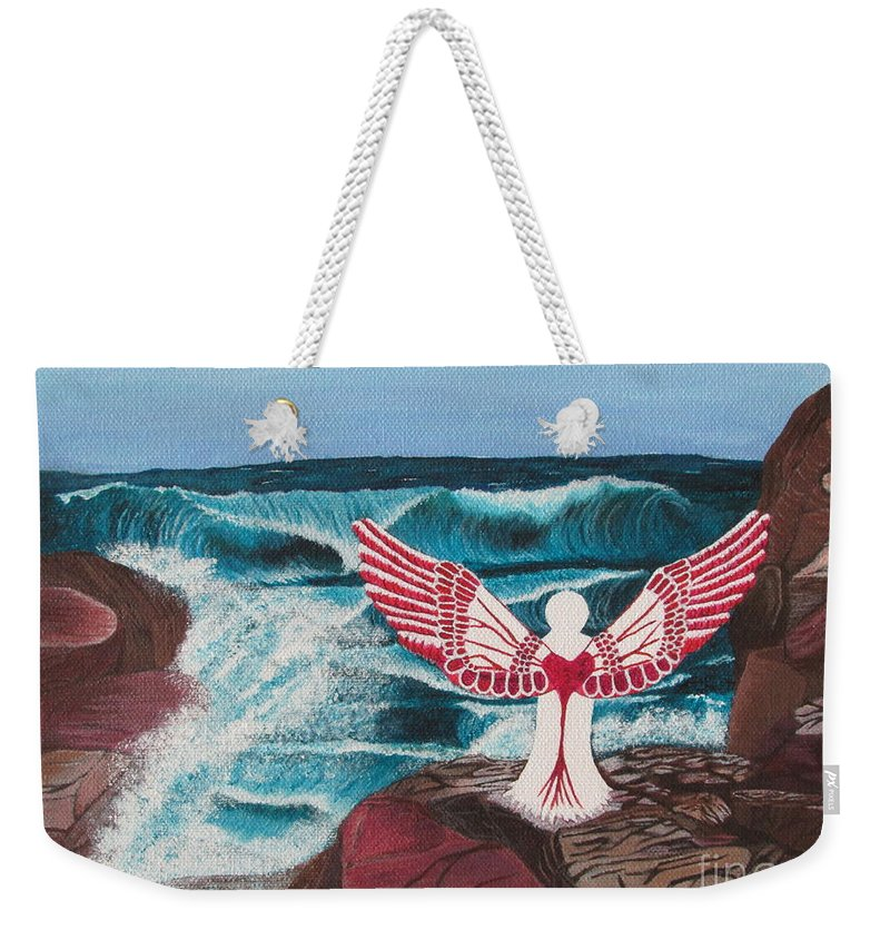 Angel Weekender Tote Bag featuring the painting Divine Power by Cheryl Bailey