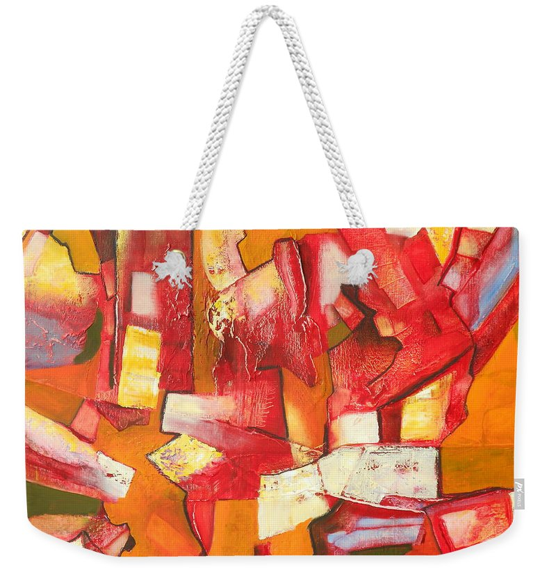 Abstract Weekender Tote Bag featuring the painting Divisive Discourse by Danielle Nelisse