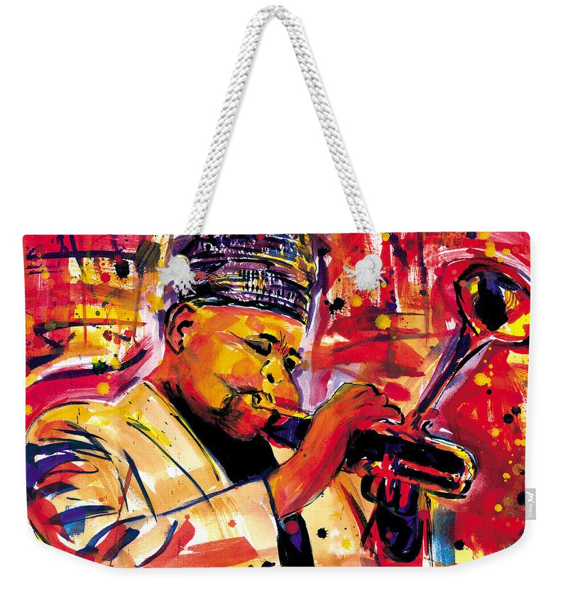 Dizzy Gillespie Weekender Tote Bag featuring the painting Dizzy Gillespie by Everett Spruill