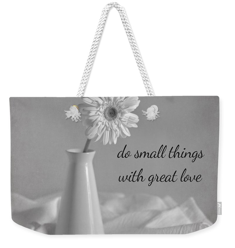 Gerbera Daisy Weekender Tote Bag featuring the photograph Do Small Things by Kim Hojnacki