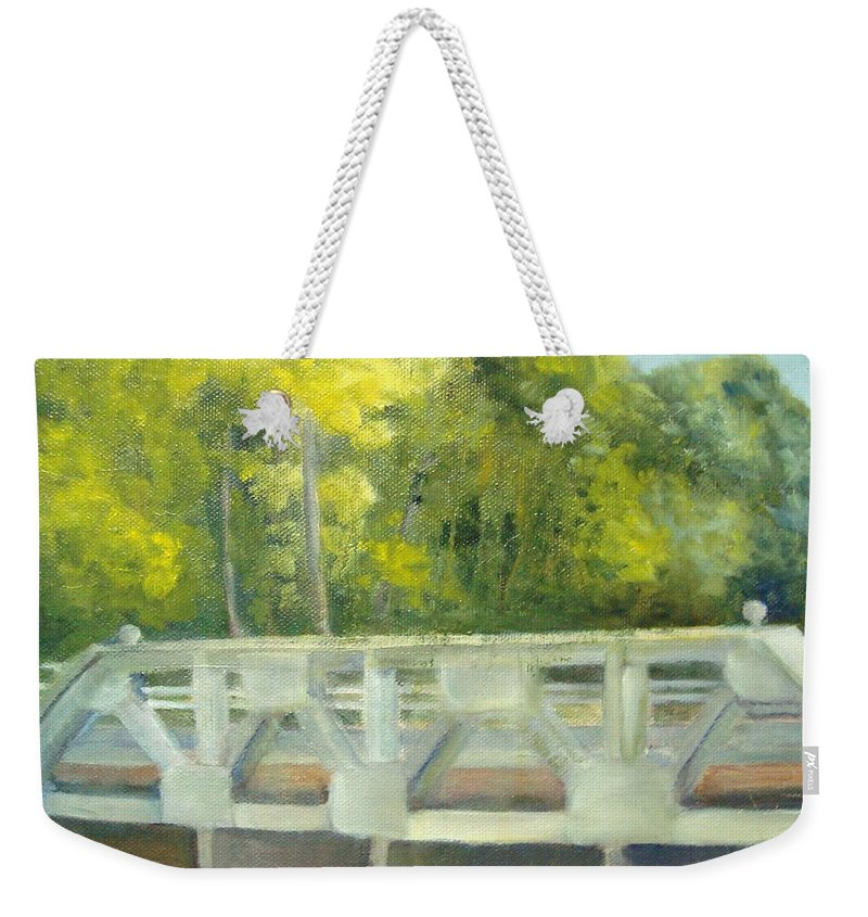 Smithville Park Weekender Tote Bag featuring the painting Do You Paint Fish? by Sheila Mashaw