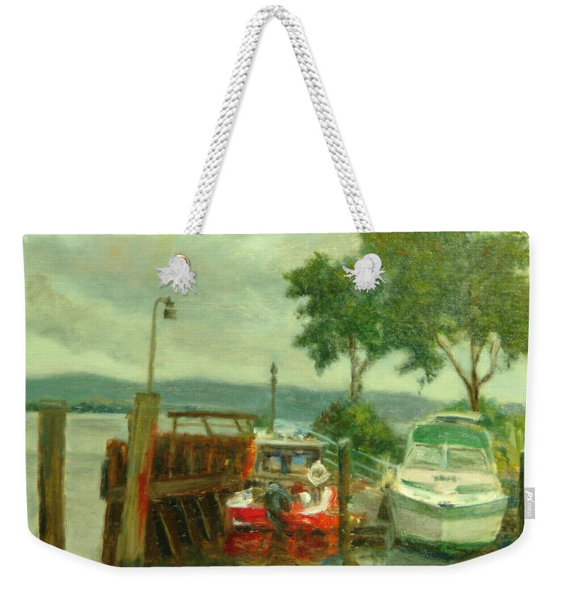 Landscape Weekender Tote Bag featuring the painting Docked Boats by Phyllis Tarlow