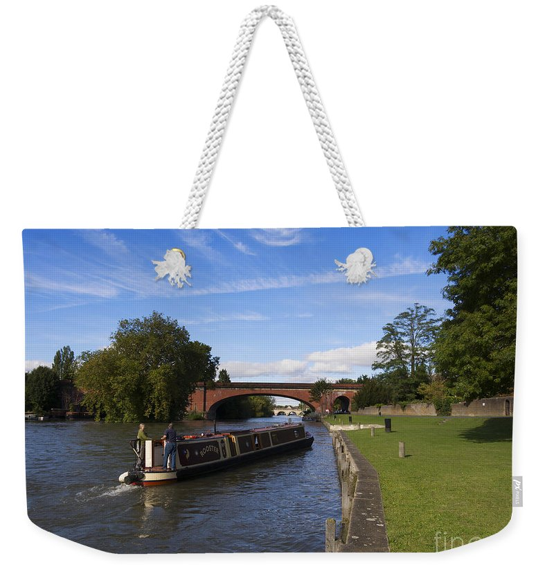 Narrowboat Weekender Tote Bag featuring the photograph Docking by Louise Heusinkveld