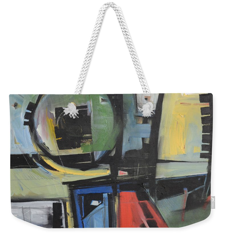 Abstract Weekender Tote Bag featuring the painting Dockside by Tim Nyberg