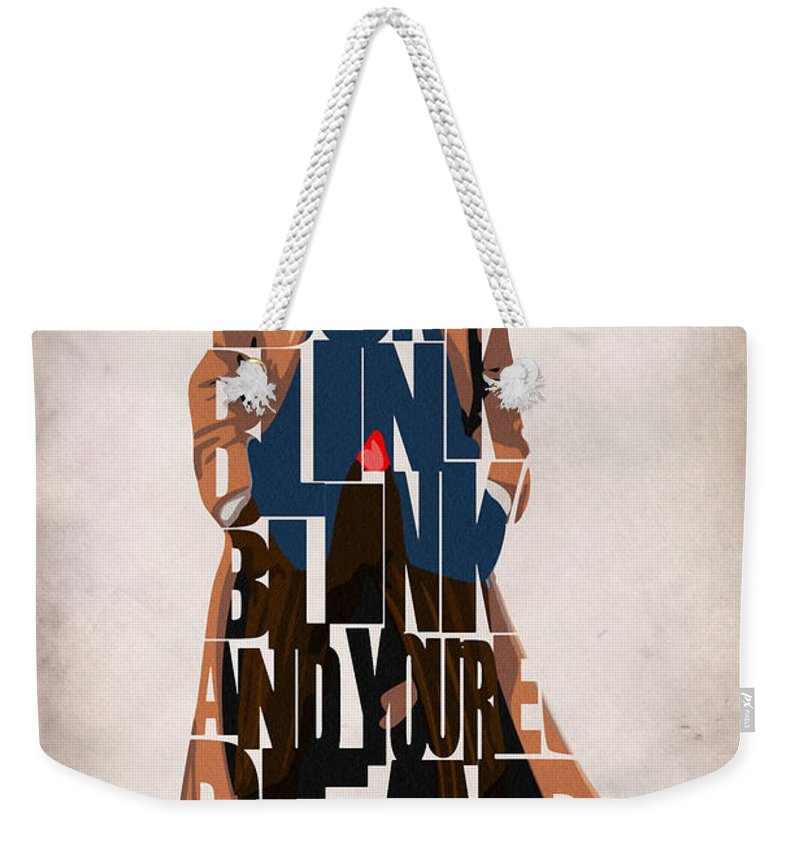 Doctor Who Weekender Tote Bag featuring the painting Doctor Who Inspired Tenth Doctor's Typographic Artwork by Inspirowl Design