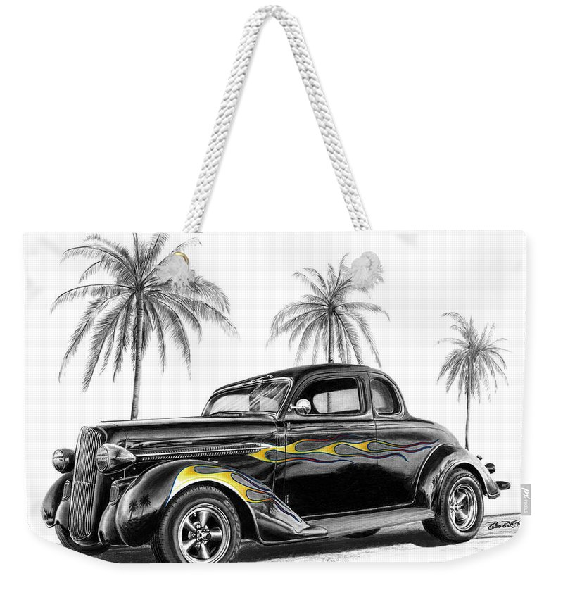 1936 Dodge Coupe Weekender Tote Bag featuring the drawing Dodge Coupe by Peter Piatt