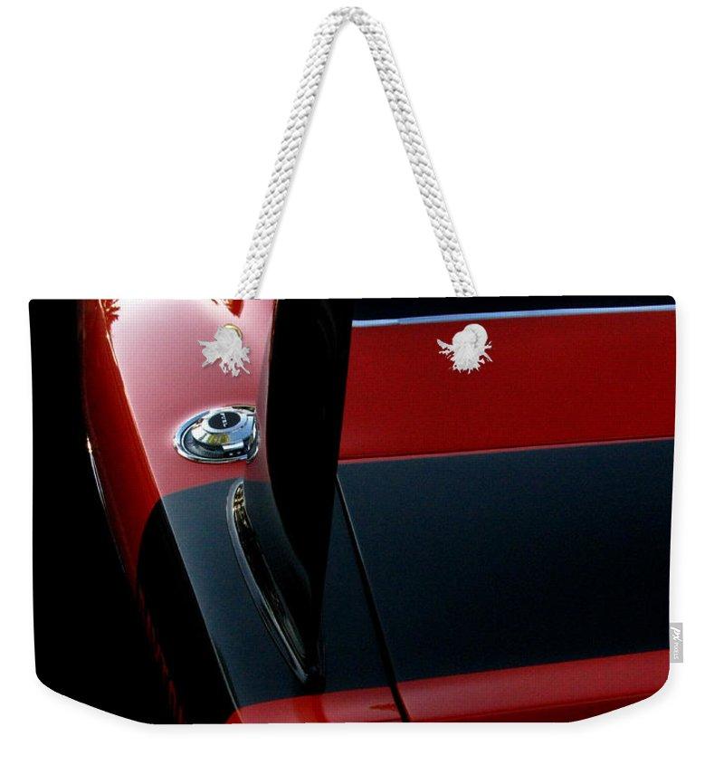 Dodge Daytona Weekender Tote Bag featuring the photograph Dodge Daytona Fin by Peter Piatt