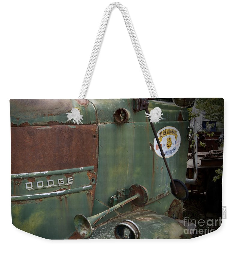 Dodge Weekender Tote Bag featuring the photograph Dodge Truck Alaskan Highway by David Arment