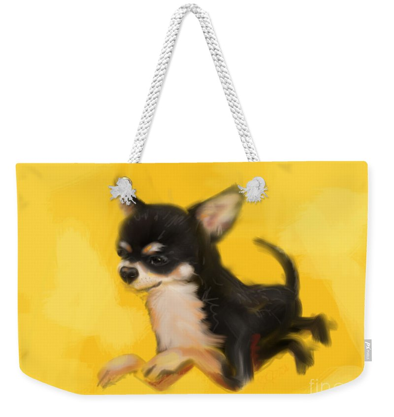 Chihuahua Weekender Tote Bag featuring the painting Dog Chihuahua Yellow Splash by Go Van Kampen