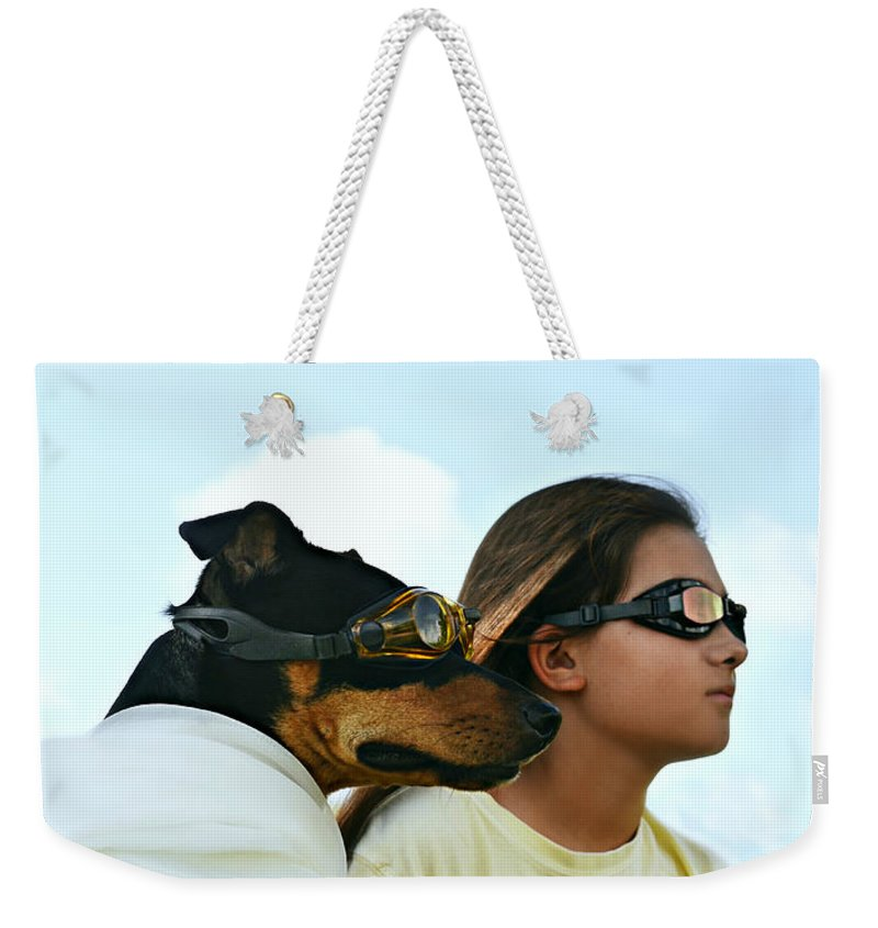 Laura Fasulo Weekender Tote Bag featuring the photograph Dog Is My Co-pilot by Laura Fasulo
