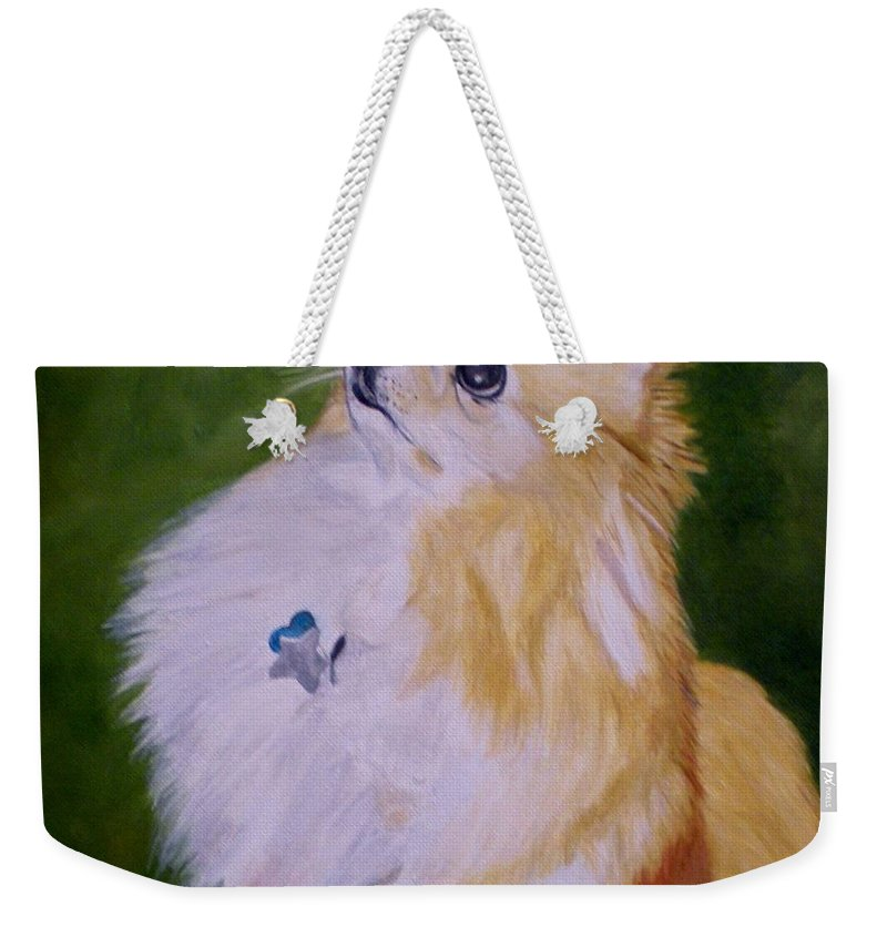 Dog Pomeranian Weekender Tote Bag featuring the painting Dog Kuki by Graciela Castro