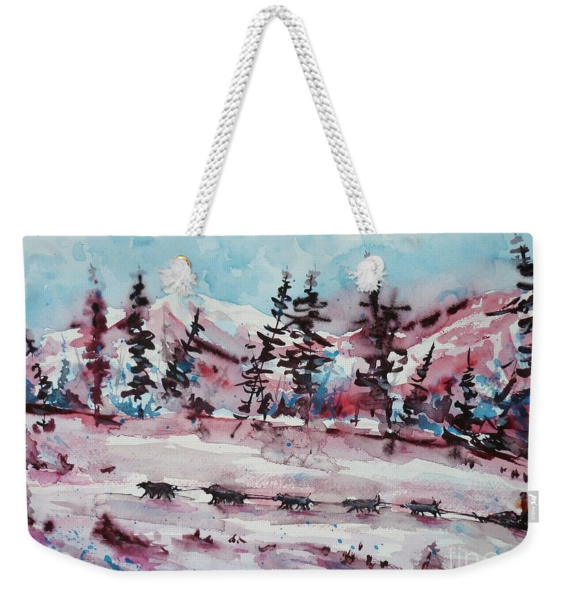 Dogs Weekender Tote Bag featuring the painting Dog Sled by Zaira Dzhaubaeva