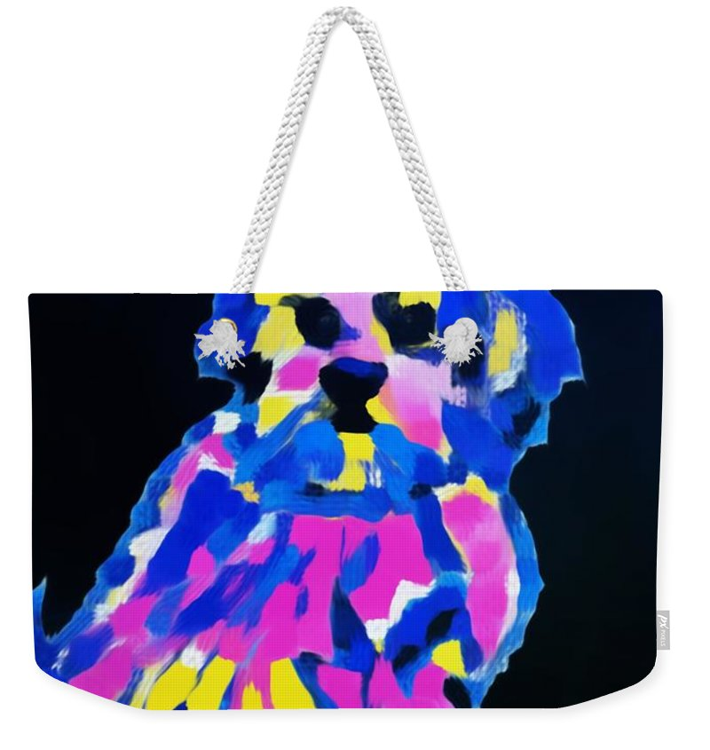 Dog Lhasa Apsos Impression Weekender Tote Bag featuring the painting Dog-tibetin Lhasa Apsos Impression by Saundra Myles