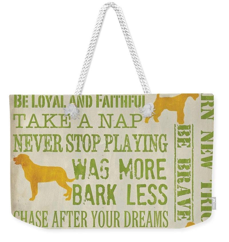 Dog Weekender Tote Bag featuring the painting Dog Wisdom by Debbie DeWitt