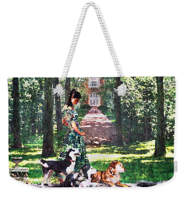 Landscape Weekender Tote Bag featuring the photograph Dogs Lay At Her Feet by Steve Karol