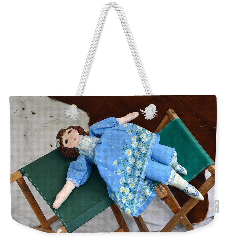 1800s Doll Weekender Tote Bag featuring the photograph Doll And Camp Chairs 1800s by David Lee Thompson