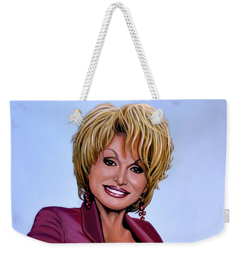Dolly Parton Weekender Tote Bag featuring the painting Dolly Parton by Paul Meijering