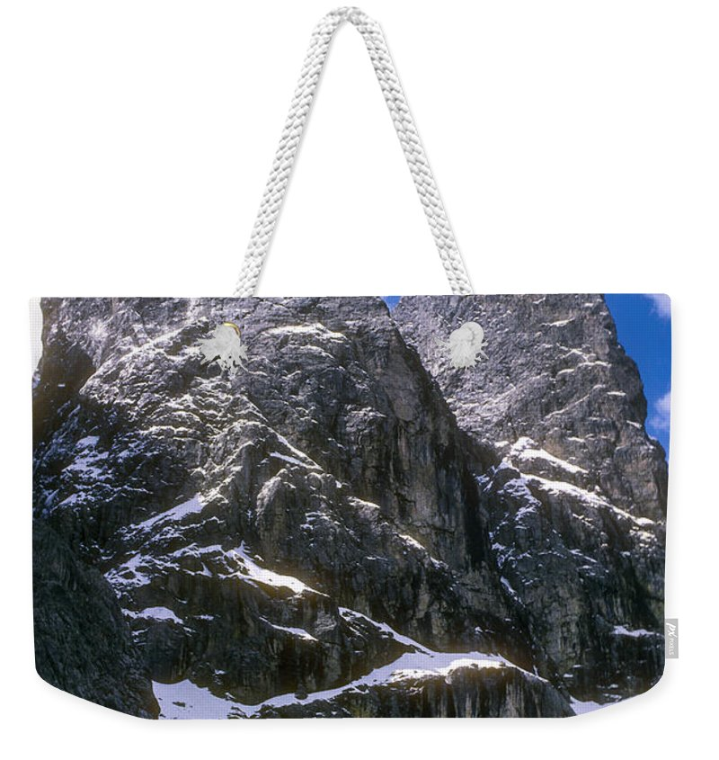 Dolomite Mountain Mountains Peaks Peak Snow Cloud Clouds Landscape Landscapes South Tyrol Tyrolean Alps Italy Snowscape Snowscapes Dolomites Weekender Tote Bag featuring the photograph Dolomite Twin Peaks by Bob Phillips