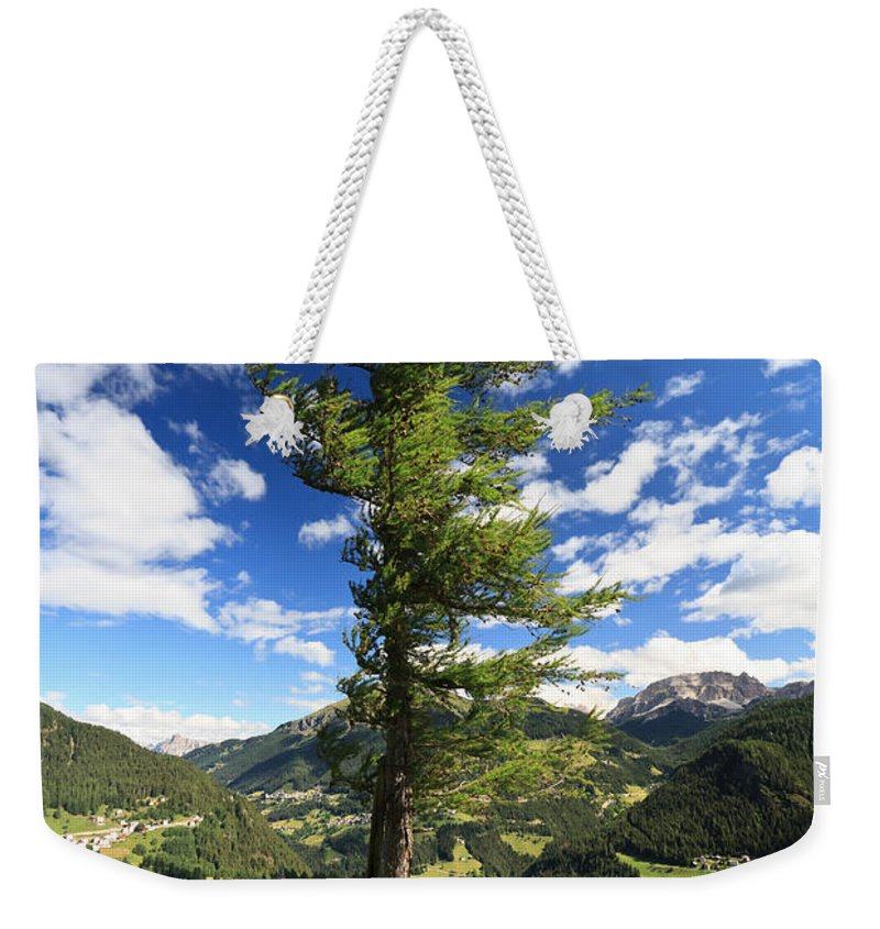 Alpine Weekender Tote Bag featuring the photograph Dolomites - Tree Over The Valley by Antonio Scarpi