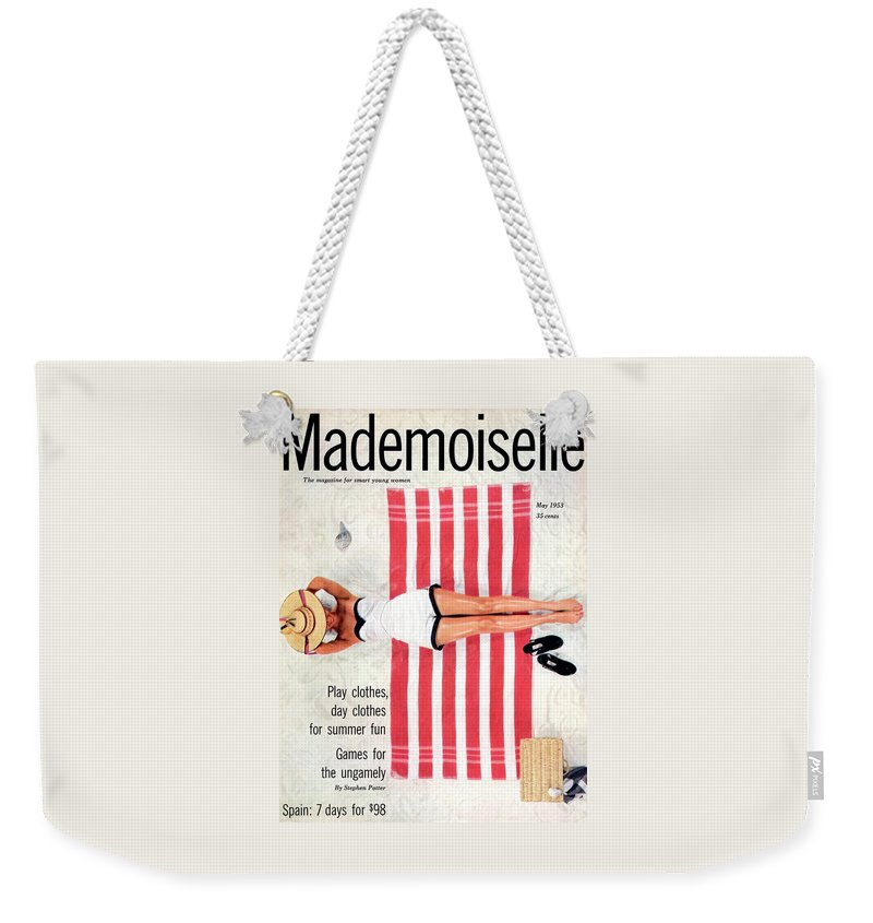 Fashion Weekender Tote Bag featuring the photograph Dolores Hawkins On A Beach by Somoroff