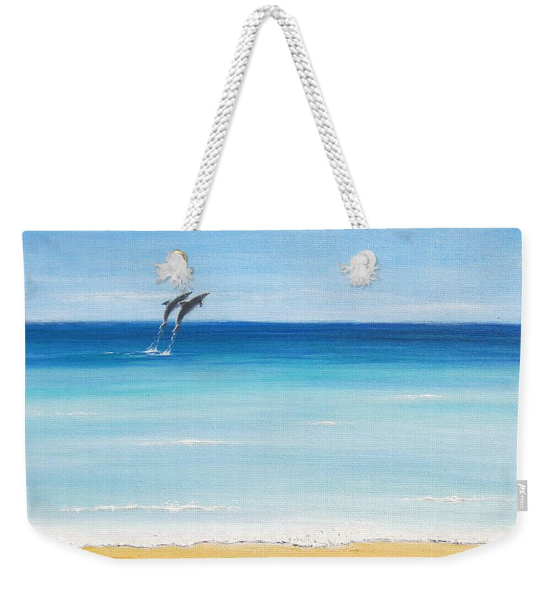Dolphins Weekender Tote Bag featuring the painting Dolphin Beach by Jerome Stumphauzer