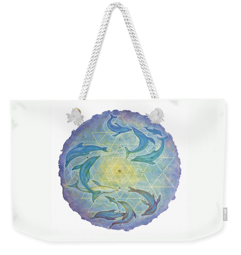 Dolphin Weekender Tote Bag featuring the painting Dolphin Healing by Laura Almada