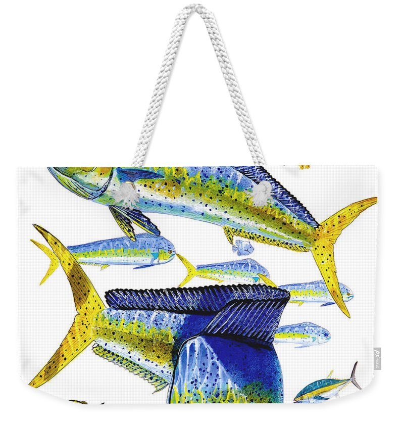 Dolphin Weekender Tote Bag featuring the painting Dolphin In Weedline by Carey Chen