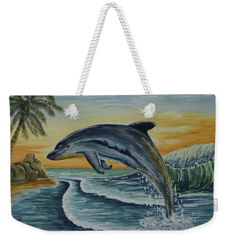 Dolphin Weekender Tote Bag featuring the painting Dolphin Jumping by Kathy Przepadlo
