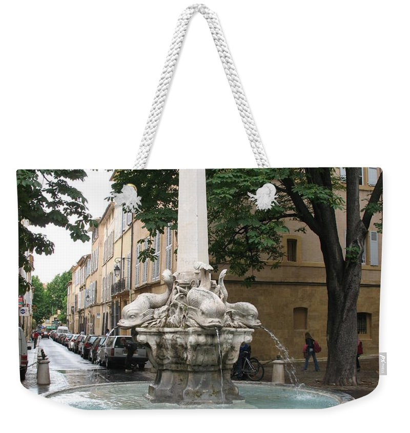 Dolphin Fountain Weekender Tote Bag featuring the photograph Dolphinfountain - Aix En Provence by Christiane Schulze Art And Photography