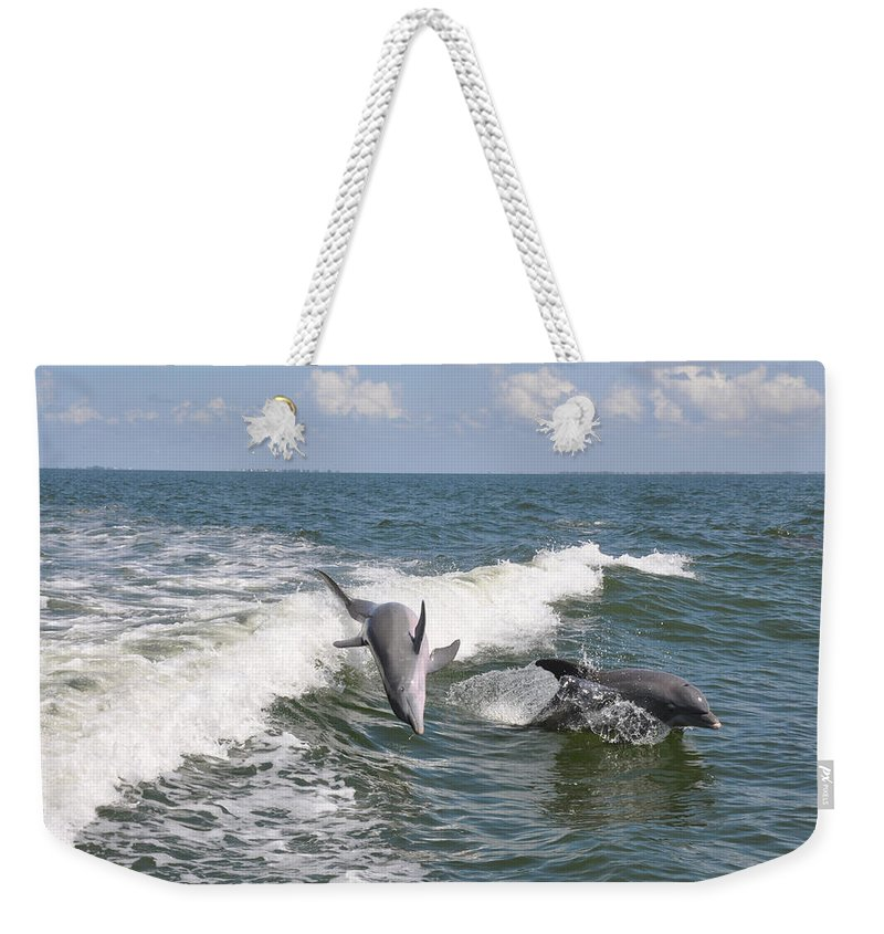 Animal Weekender Tote Bag featuring the photograph Dolphins At Play by Deborah Good