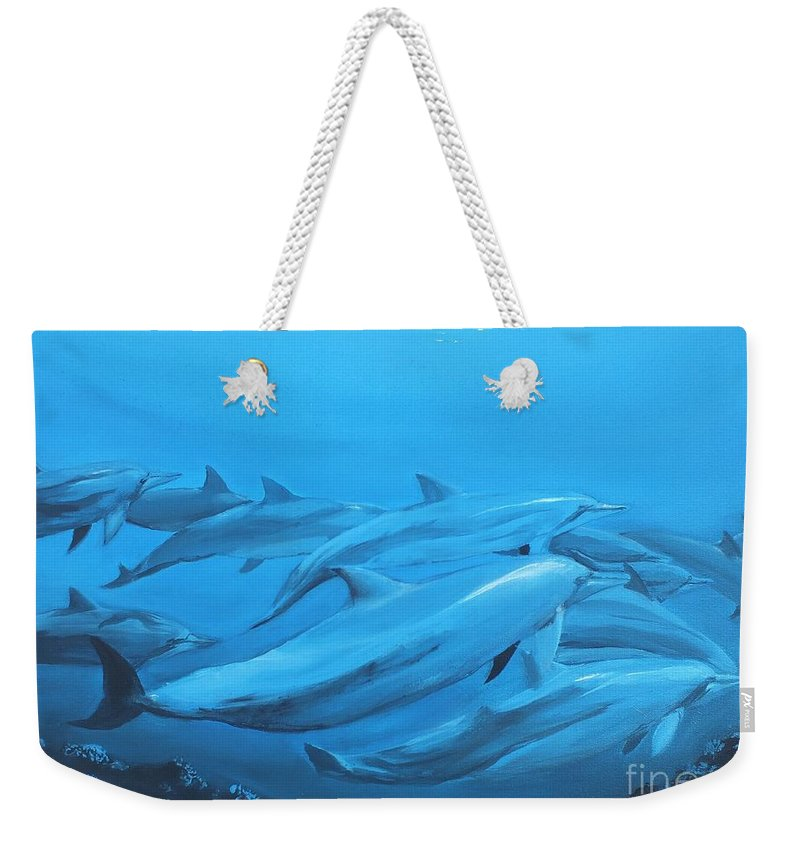 Dolphins Weekender Tote Bag featuring the painting Dolphins by Jeremy Reed