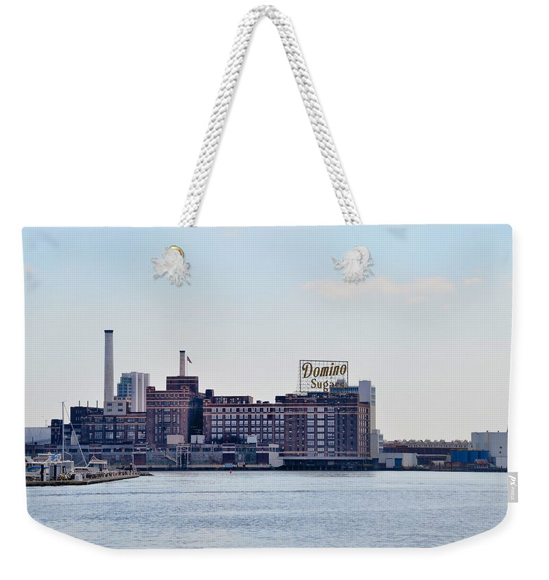 Domino Weekender Tote Bag featuring the photograph Domino Sugars - Baltimore Maryland by Bill Cannon