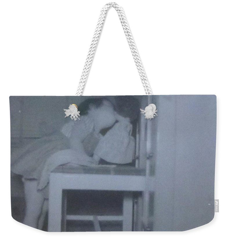 Little Girl Kissing Her Doll Weekender Tote Bag featuring the photograph Donna Kissing Her Baby Doll by Donna Wilson