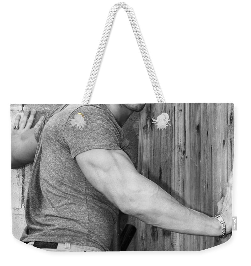 Model Weekender Tote Bag featuring the photograph Dont Fence Me In Bw by William Dey