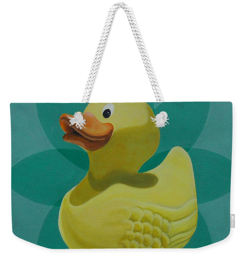 Rubber Duck Weekender Tote Bag featuring the painting Don't Give A Rubber Duck by Gary Hogben
